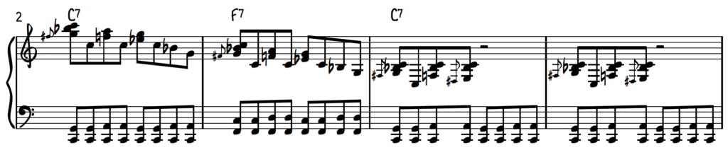 Blues Piano Crunch Run over first 4 bars of the 12-bar blues