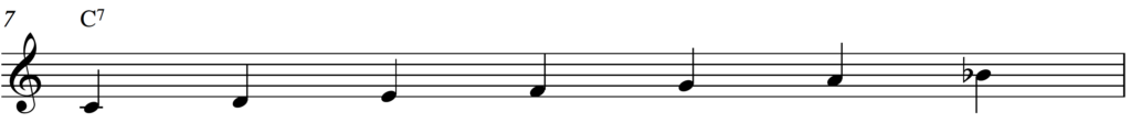 C Mixolydian scale over a C7 chord