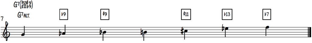 G Altered Scale on piano for jazz improv on dominant 7 chords
