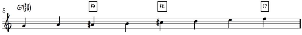 G Mixo-Dominant Diminished scale on piano for jazz improv on dominant 7 chords