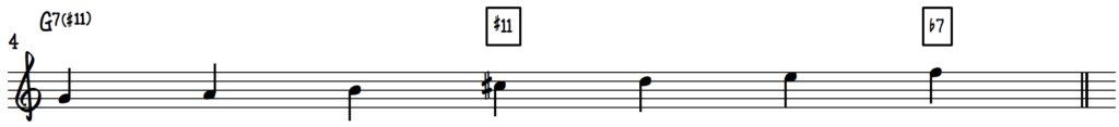G Mixolydian #4 scale on piano for jazz improv on dominant 7 chords