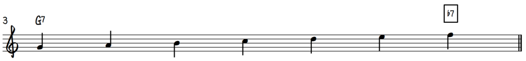G Mixolydian Scale on piano for jazz improv on dominant 7 chords