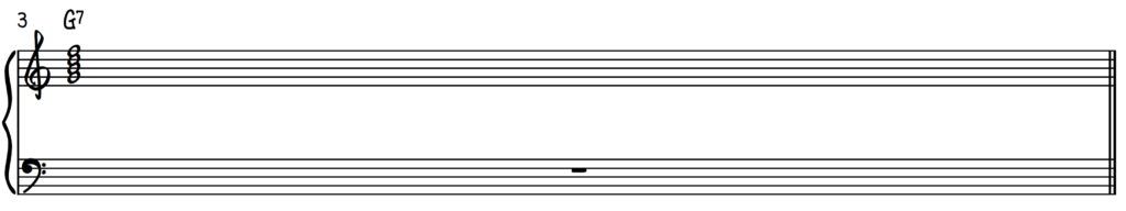 G7 root position chord on piano