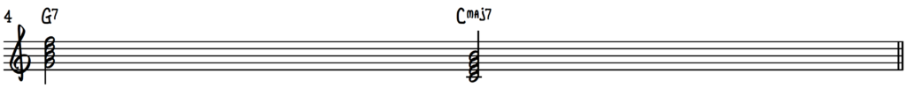 G7 to C Major 7 (5-1) chord progression in jazz piano lead sheets