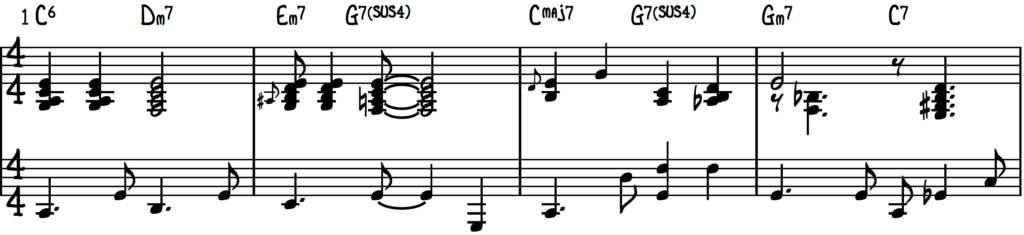 Jingle Bells jazz piano arrangement, 1st 4 bars