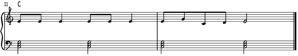 Jingle Bells piano with basic chords