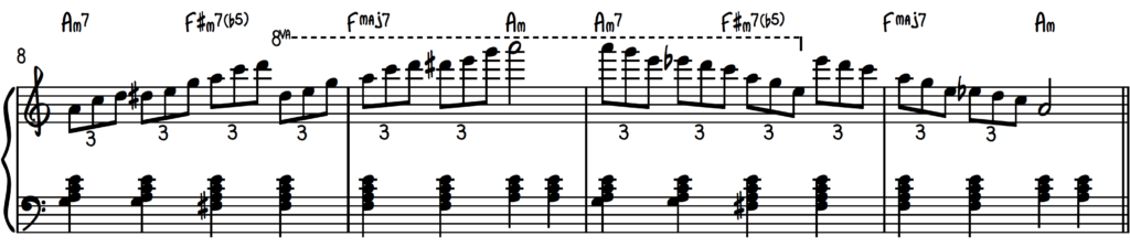 Triplet Exercise in 3 octaves for slow blues piano improv practice