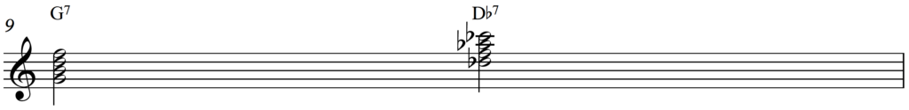 Tritone substitute on a G7, jazz piano passing chord