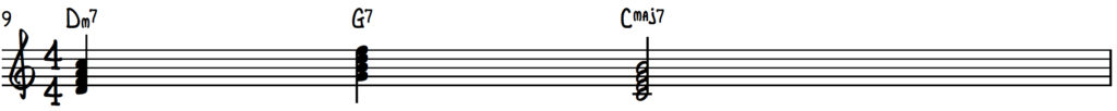 2-5-1 chord progression in the key of C on piano