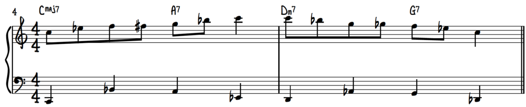 C Blues Scale 8th Note Exercise Over A Walking Bass Line Turnaround Progression for Jazz Piano