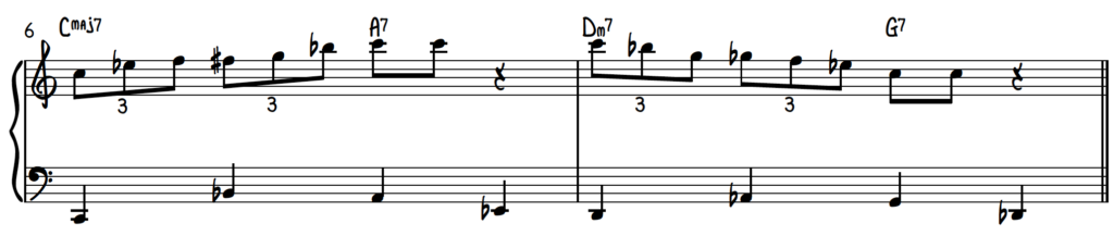 C Blues Scale Triplet Exercise Over A Walking Bass Line Turnaround Progression for Jazz Piano