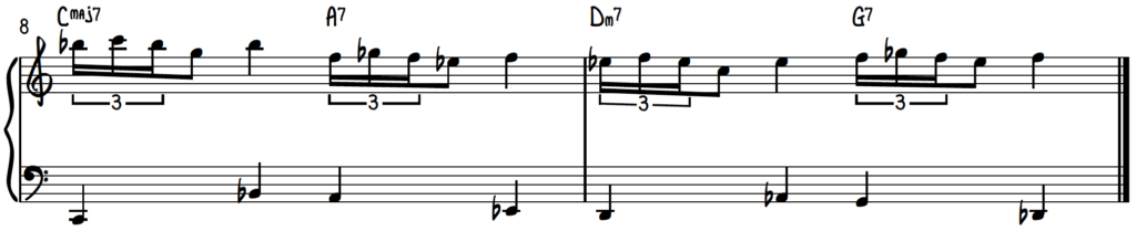 C Blues Scale Turn Exercise Over A Walking Bass Line Turnaround Progression for Jazz Piano