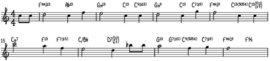 Happy Birthday lead sheet reharmonization using jazz harmony and 7th chords