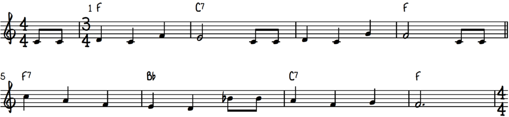 Happy Birthday piano lead sheet in the key of F major