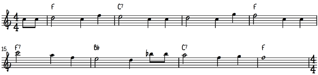 Happy Birthday piano lead sheet in the key of F major in 4:4 time signature