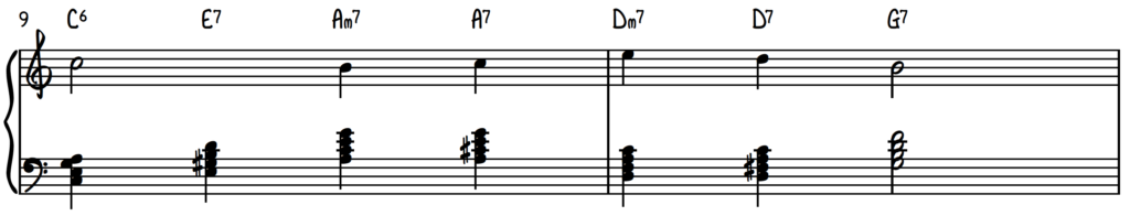 Melody with secondary dominant passing chords