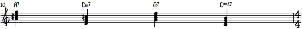 Secondary dominant chord used before the 2-5-1 in the key of C on piano