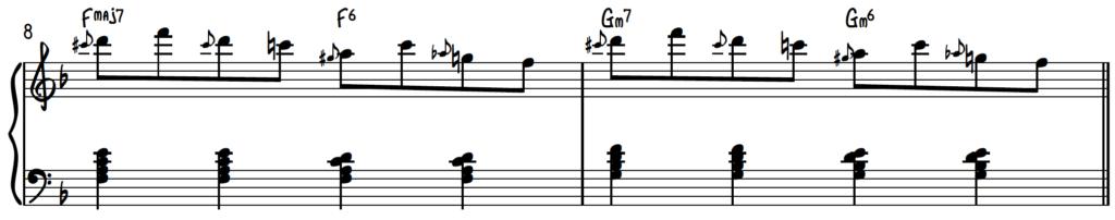 Slide Exercise over the Turnaround Progression in F for jazz piano using inversions
