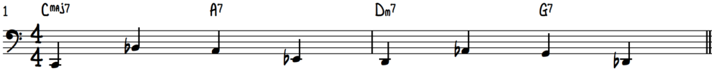 Turnaround Progression Quarter Note Walking Bass Line Using Upper Neighbors for Jazz Piano