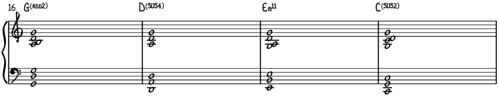 1-5-6-4 chord progression in the key of G using chord extensions and chord clusters on piano