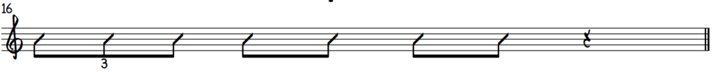 Example of how to fill in a rhythm template with the C blues scale on piano