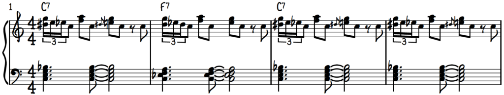 Blues roll piano exercise #1 over the 12-bar blues form