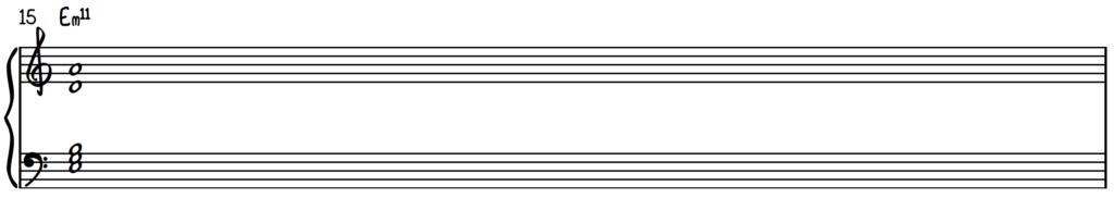 Em11 chord on piano