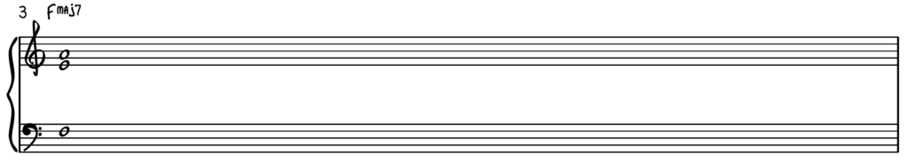 F Major 7 chord shell in open position for jazz piano