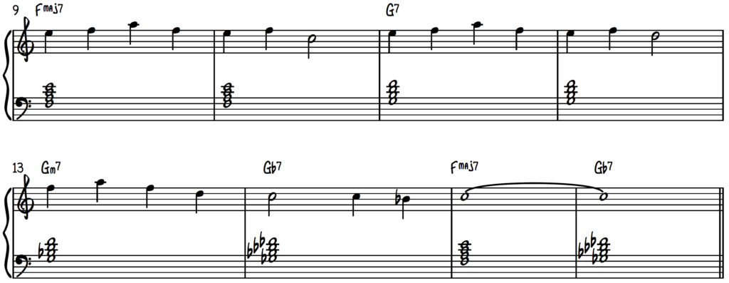 In Your Eyes lead sheet with left hand root position 7th chords for jazz piano