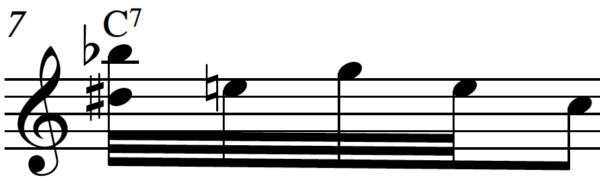 Inverted C blues roll with Bb on top