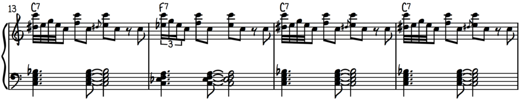 Inverted blues roll piano exercise #2 over the 12-bar blues form