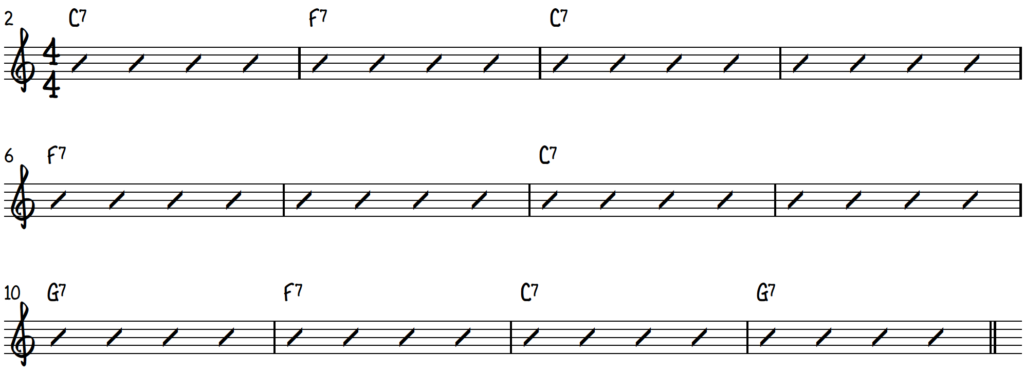 12 bar blues chord progression; 12 bar blues form chord sheet