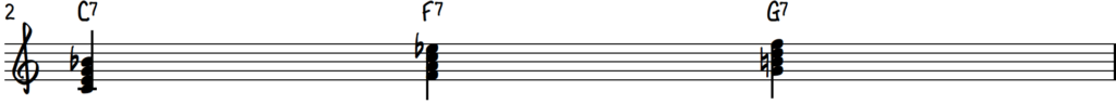 Blues chords in root position in the key of C on piano - C7 F7 G7