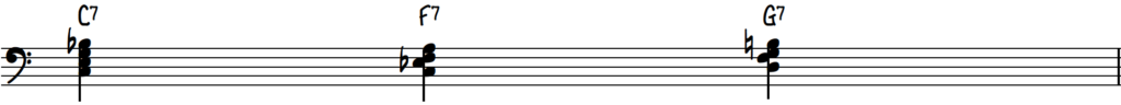Blues chords using inversions in the key of C on piano - C7 F7 G7