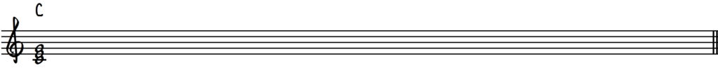 C major chord in root position on piano