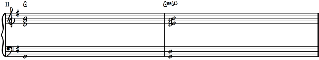 Harmonizing a G major chord in 2nd inversion using the cut-4 approach on piano