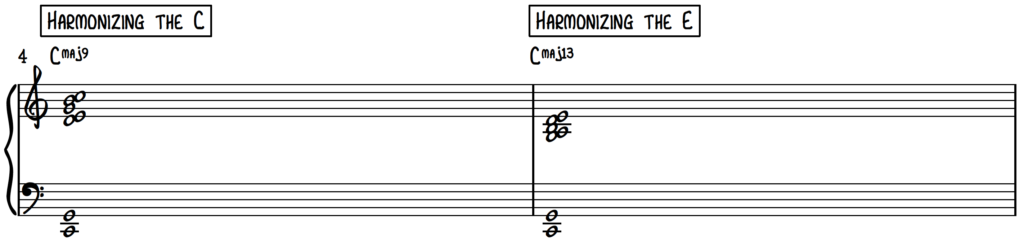 Harmonizing a first inversion and 2nd inversion c major chord using the cut-4 approach