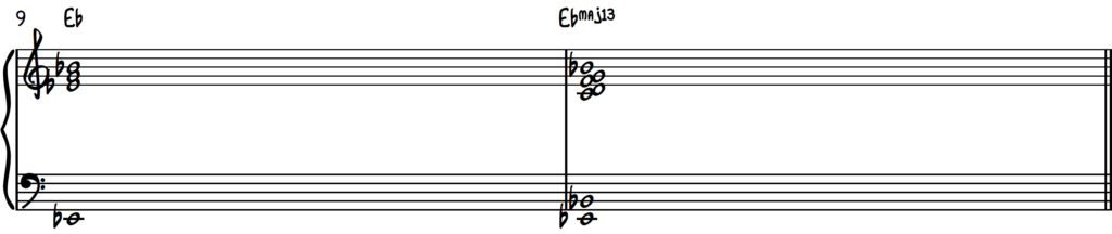 Harmonizing an Eb major chord in root position using the cut-4 approach on piano