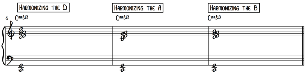 Harmonizing the notes D A and B using the cut-4 approach on piano