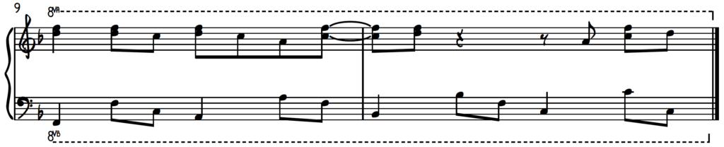 Upper position harmonized line example - how to create happiness at the piano using the major blues scale