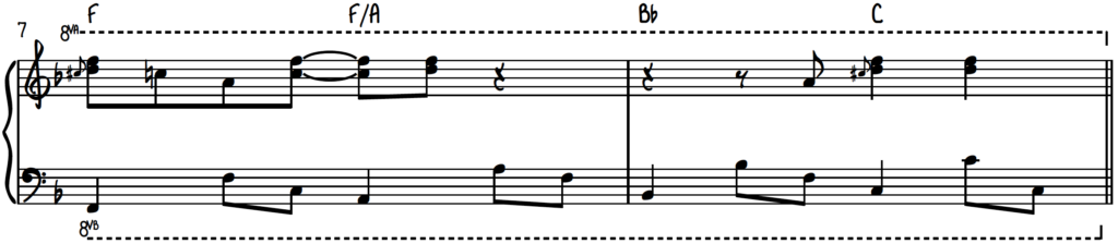 Upper position harmonized slide example - how to create happiness at the piano using the major blues scale