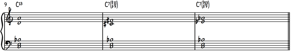 Common extension and alteration combinations on a dominant 7 chord including C13, C7#11b9, and C7b13#9