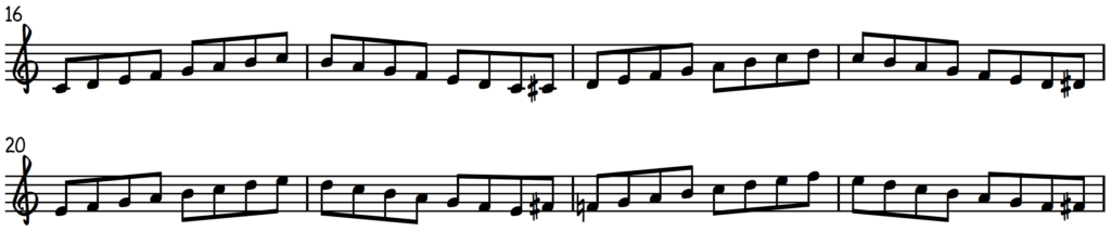 Connecting Modes Exercise right hand only to practice scales for jazz piano