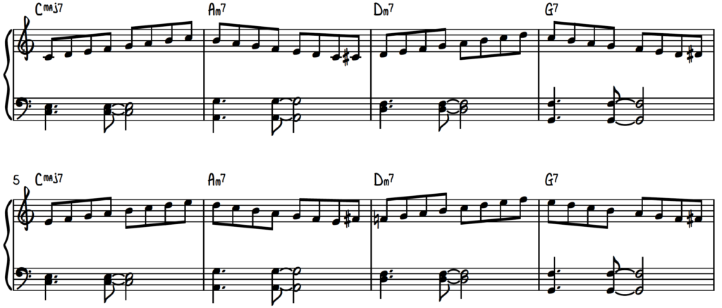 Connecting Modes Exercise with left hand chords to practice scales for jazz piano