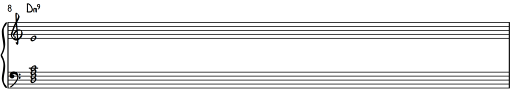 D minor 9 chord in root position on piano