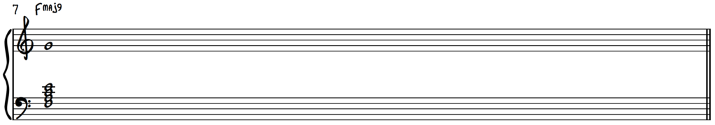 F major 9 chord in root position on piano