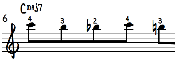 First 5 notes of Chord Enclosure Descending Exercise