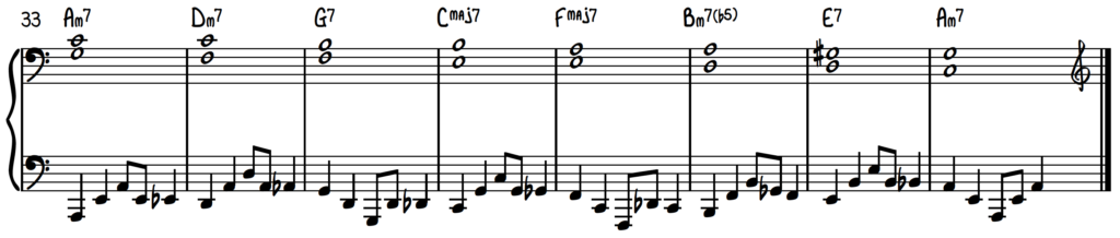 Intermediate Jazz Swing Piano Accompaniment for Fly Me to the Moon with Guide Tones and Swung 8th Note Bass Line
