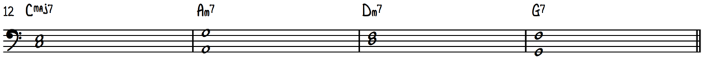 Turnaround Progression left hand shells to practice scales for jazz piano