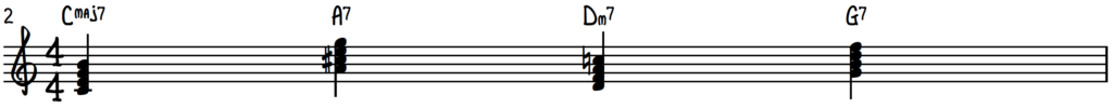 Turnaround progression in the key of C for jazz piano